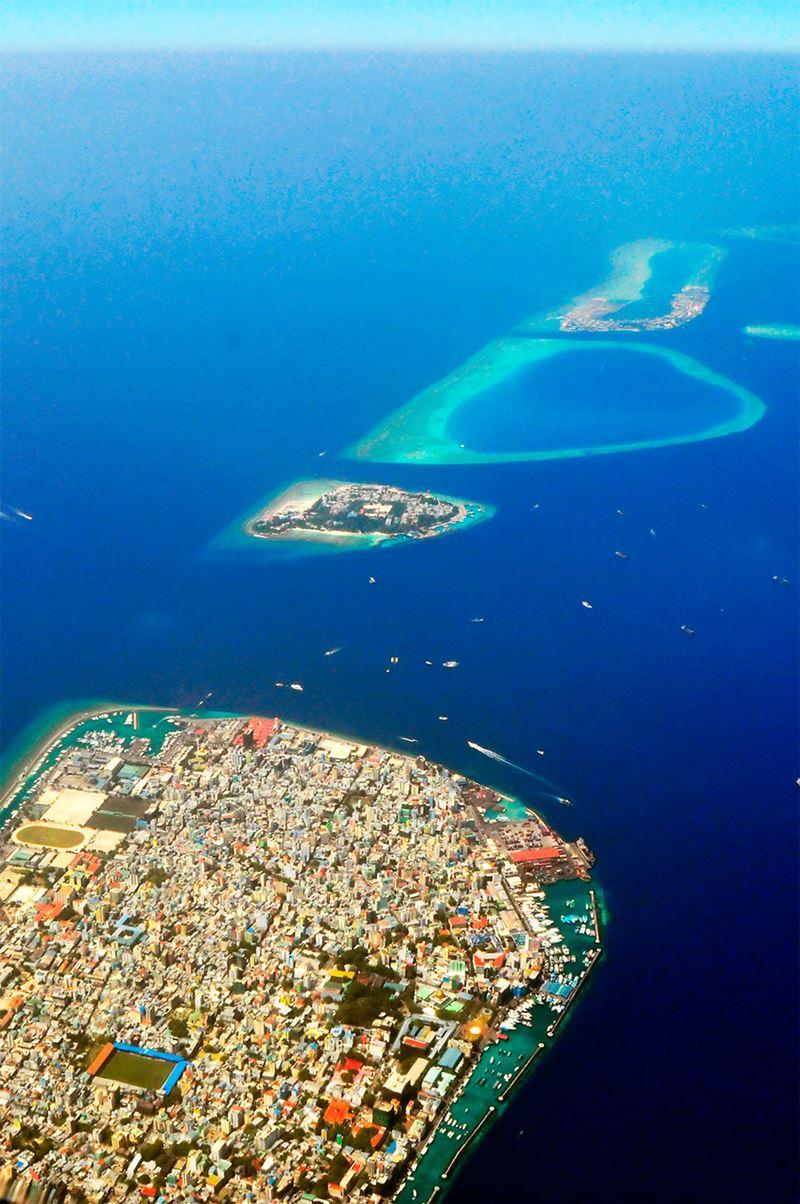 A incrivel vista aérea das Ilhas Maldivas