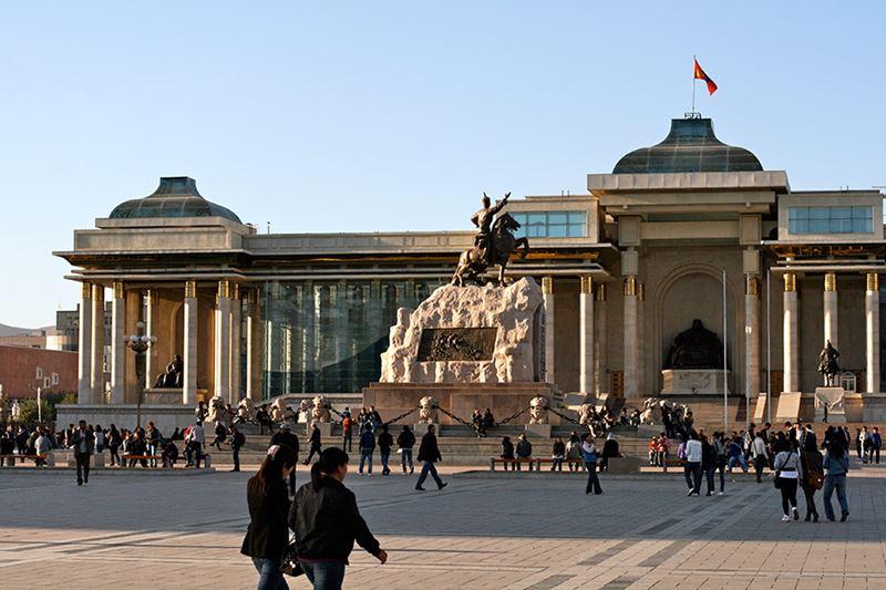 Sukhbaatar Square, uma das cidades da Mongólia