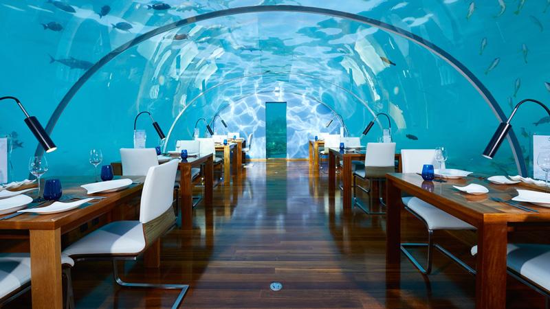 - Restaurante Subaquático em Maldivas