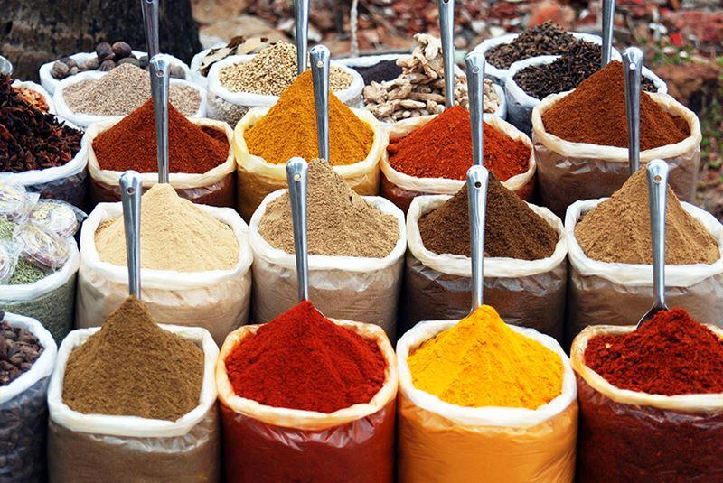 Os temperos típicos, de ervas, e as especiarias da espetacular culinária indiana